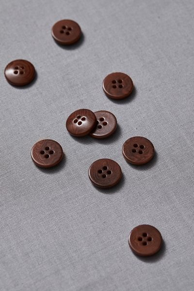 Plain Corozo Button 15mm pecan