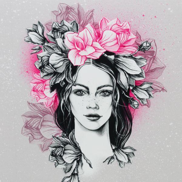 Miss Magnolia rosa Sommersweat Panel 0,80m
