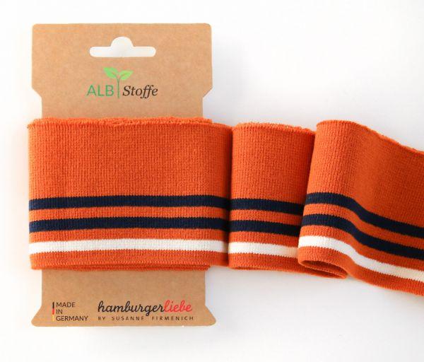 CUFF ME Collegebündchen orange/dunkelblau/weiß