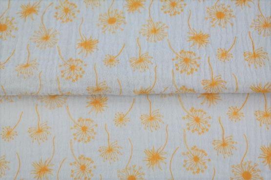 Pusteblumen weiß/gelb Musselin