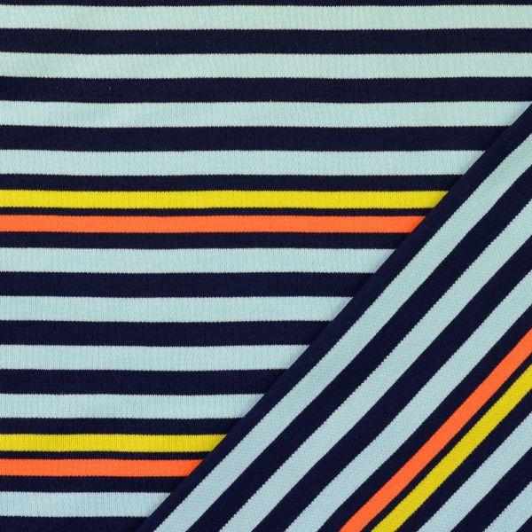 Strickjersey Streifen blau