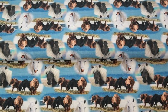 Pferde blau French Terry
