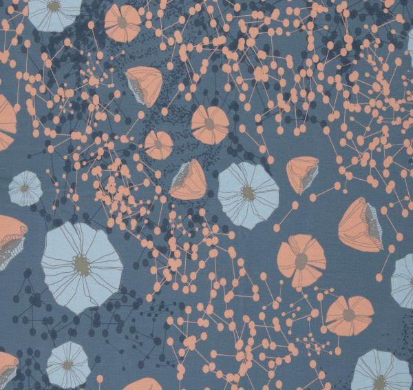 Poppies blau Viskosejersey