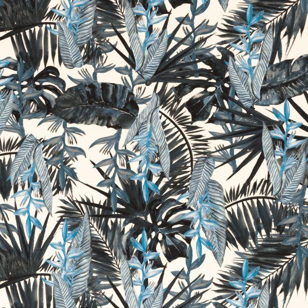 Blätter weiß/blau Jersey