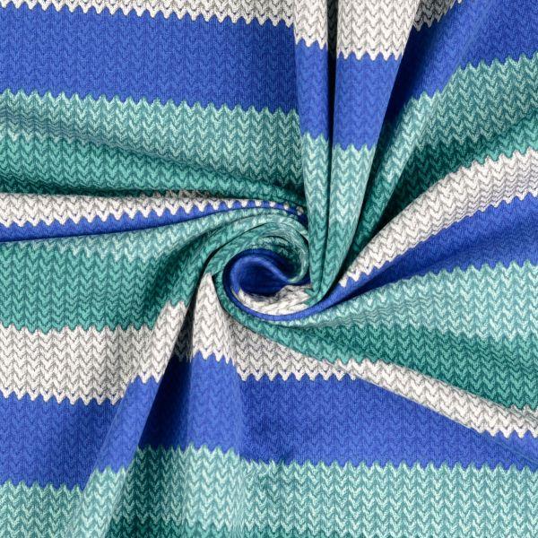 Blockstrickstreifen türkis/grau/blau Sweat