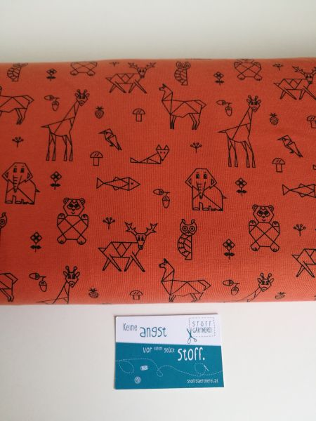 Origami Tiere rost Jersey