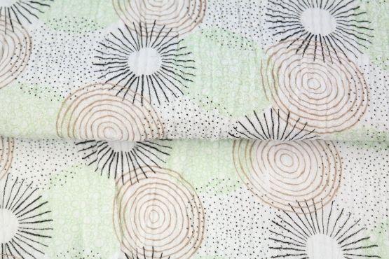Kreise schwarz/weiß/mint Musselin