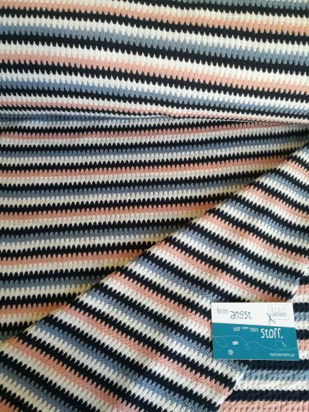 Streifen blau/rosa/weiß Strick