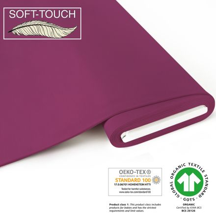 Jersey uni beere organic SOFT TOUCH