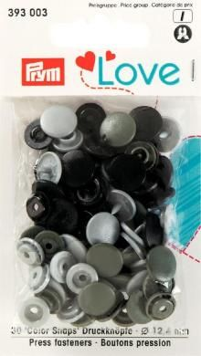 Color Druckknöpfe 12,4mm grau schwarz