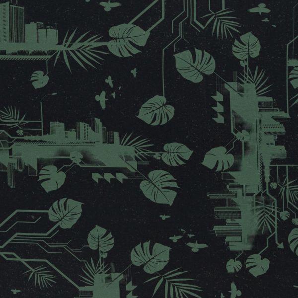 Urban Jungle schwarz/grün Jersey Reststück 0,55m