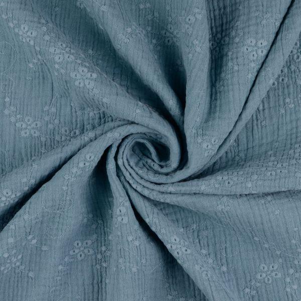 Double Gauze Stickerei jeansblau
