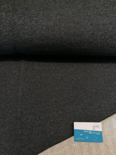 Chevron-Sweat schwarz Reststück 0,65m