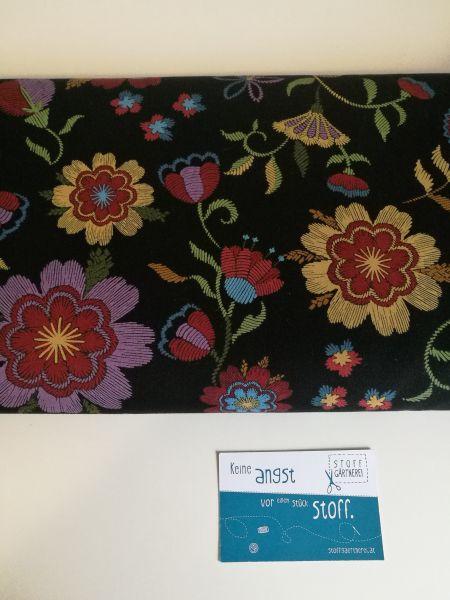 Thread the needle Blumen schwarz Baumwolle