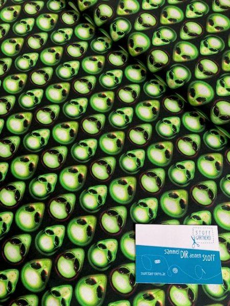 Area 51 schwarz/grün Baumwolle Reststück 0,50m