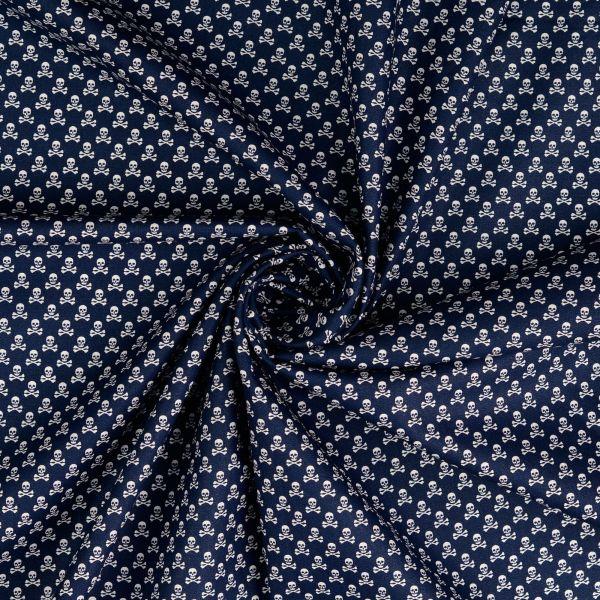 MIni Totenköpfe dunkelblau Baumwolle
