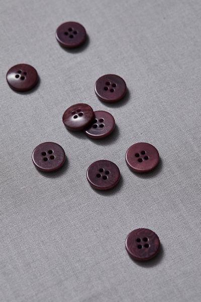 Plain Corozo Button 15mm maroon