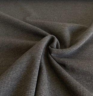 Waffelstrick Jersey dunkelgrau melange