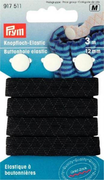 Knopfloch-Elastic Gummi 3m schwarz