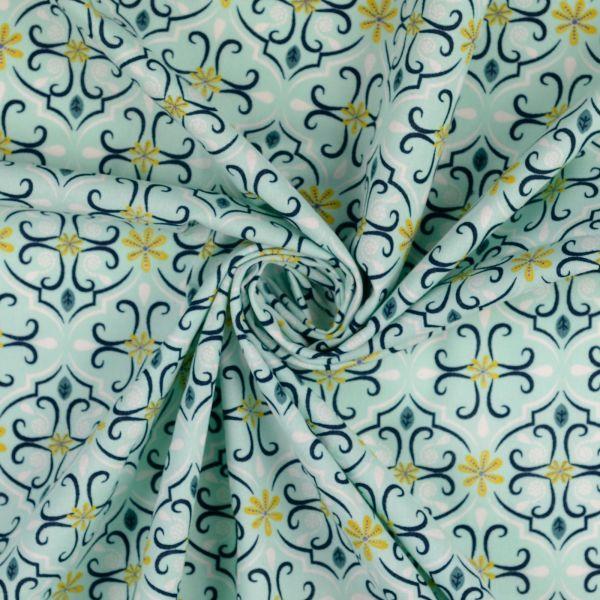 Blumenornamente mint Baumwolle organic