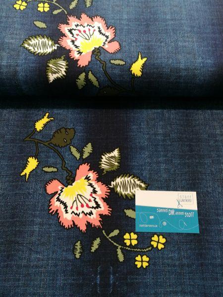 Jeans-Blumen Sommersweat Reststück 1,10m