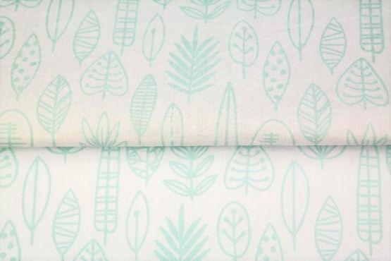 Blätter weiß/mint Baumwolle