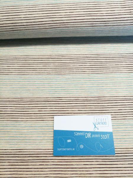 Mini Streifen braun/türkis Jersey organic