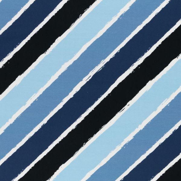 Diagonally blau by Lycklig Design French Terry