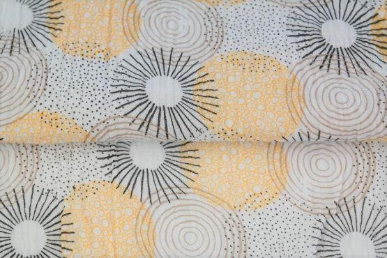 Kreise schwarz/weiß/gelb Musselin