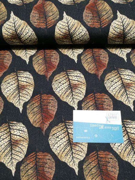 Blätterherbst Jersey schwarz/braun Reststück 1m
