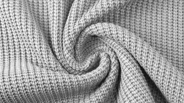 Baumwollstrick Kabel hellgrau Reststück 0,60m