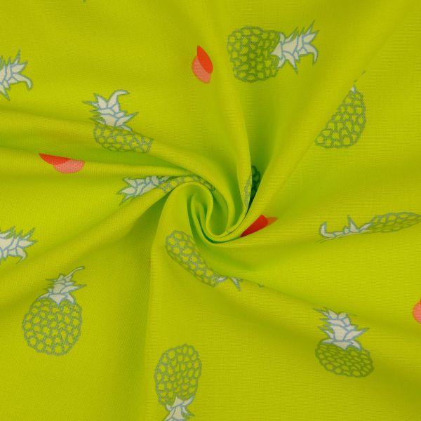 Baumwoll Druck Ananas grün