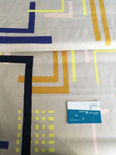 Grafische Streifen hellgrau Baumwolle Reststück 0,75m