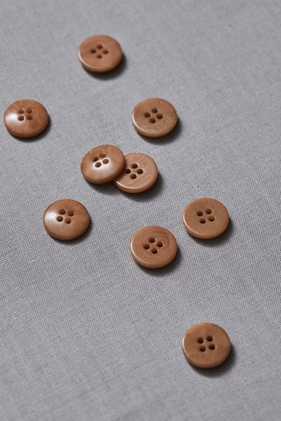 Plain Corozo Button 15mm mustard